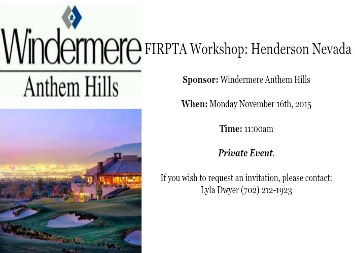 FIRPTA workshop-Henderson Nevada